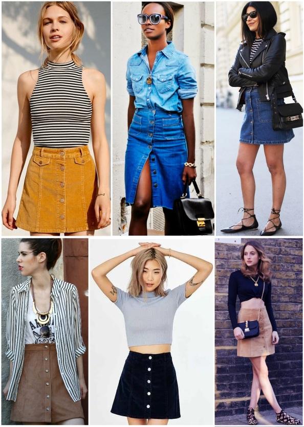 skirt button front