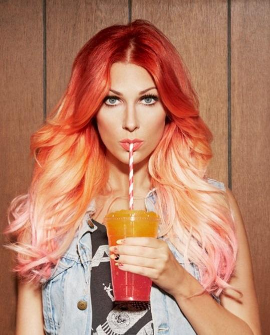 cabelo colorido sunset ruivo