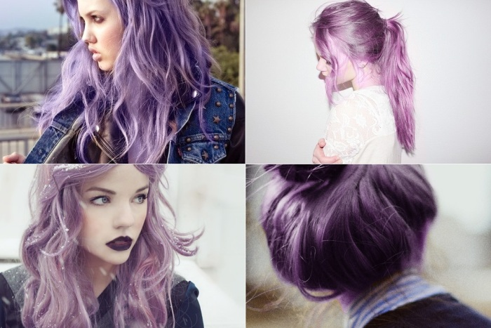 cabelo lilas e roxo
