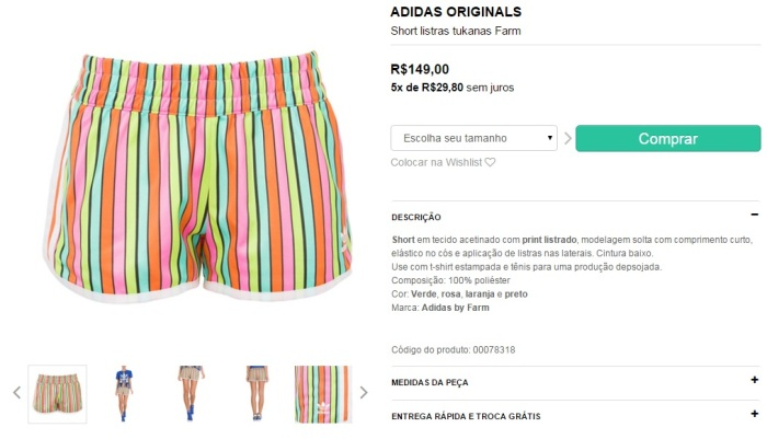 shorts listrado colorido adidas e farm