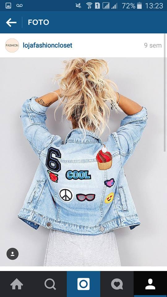 jaqueta com patches fashion closet